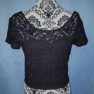 Decree Black Lace Crop Top L NWT
